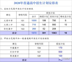 2020年太湖县普通高中招生计划分配